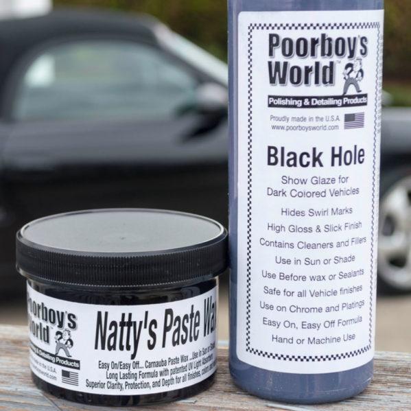 Tumman auton pohjustus- ja vahaussetti – Poorboys Black Hole & Natty's Black Paste Wax