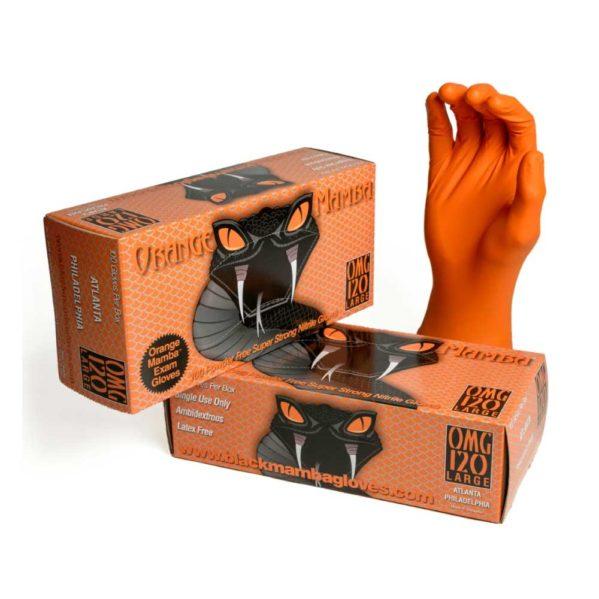 Nitriilikäsineet – Orange Mamba – 100 parin bulk-pakkaus