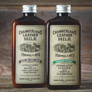 Chamberlain's Leather Clean + Cond – Puhdistus- ja hoitosetti nahkaisille jalkineille